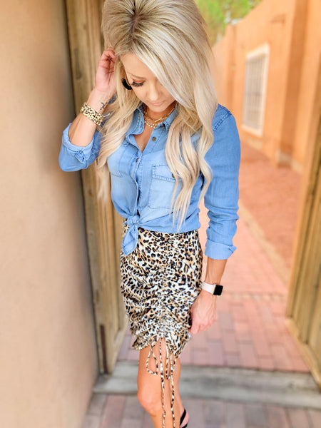 Ruched Leopard Skirt