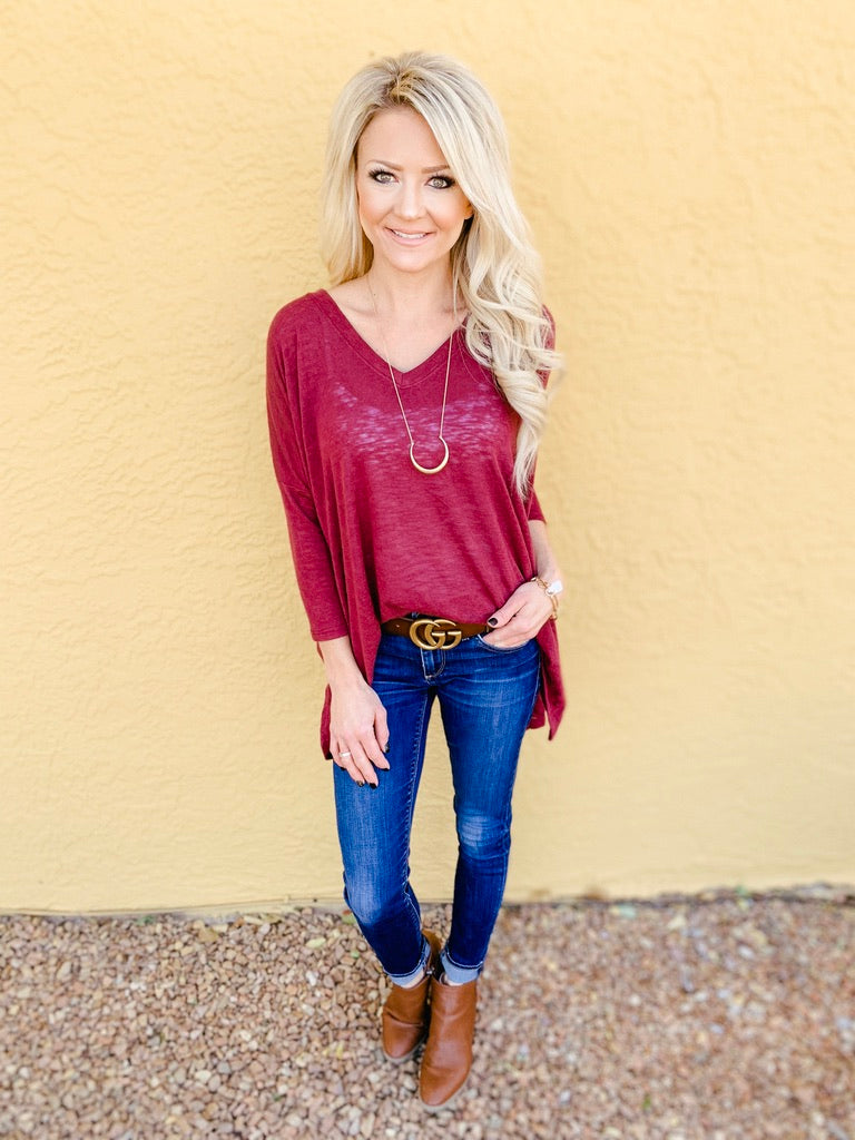 Layla Lightweight Top in Maroon