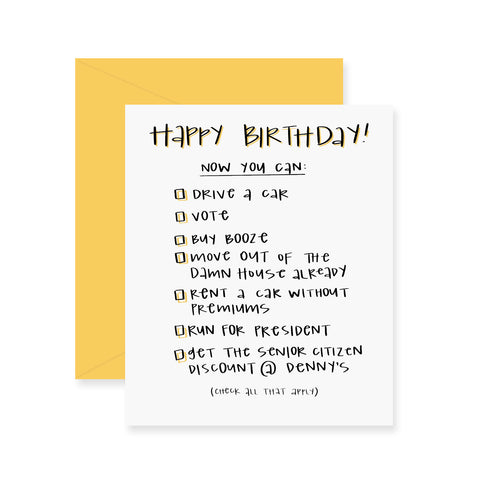 Fresh Out of Ink - Age Checklist Birthday Card