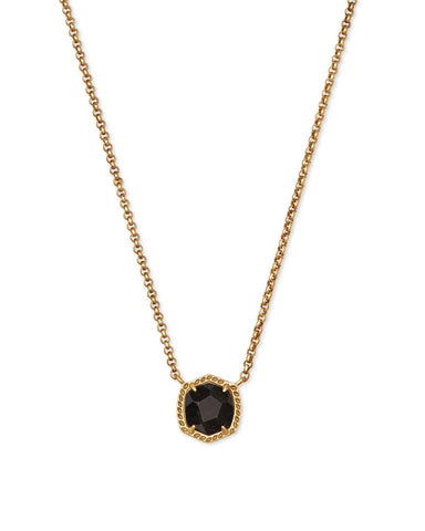 Davie Short Pendant Necklace in Vintage Gold Golden Obsidian