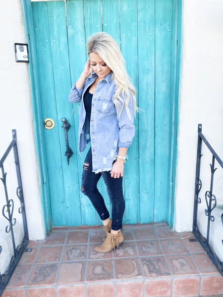Oslo Distressed Denim Top