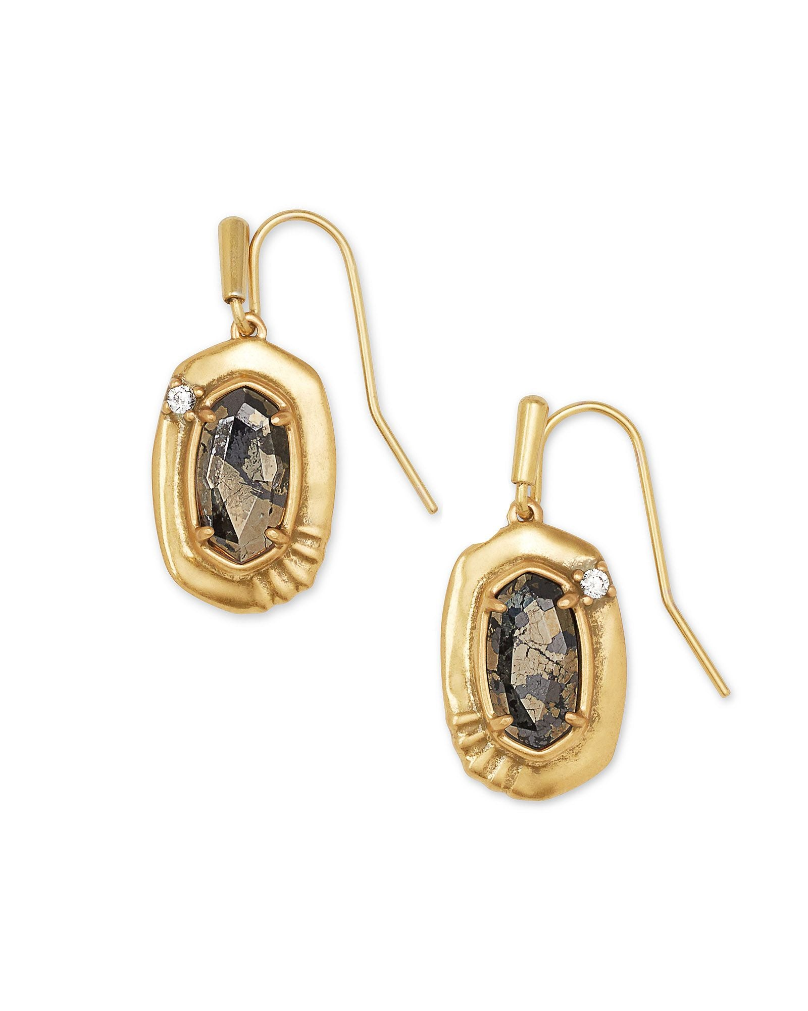 Anna Small Drop Earrings in Vintage Gold Black Pyrite