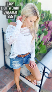 Lacy Lightweight Sweater in White
