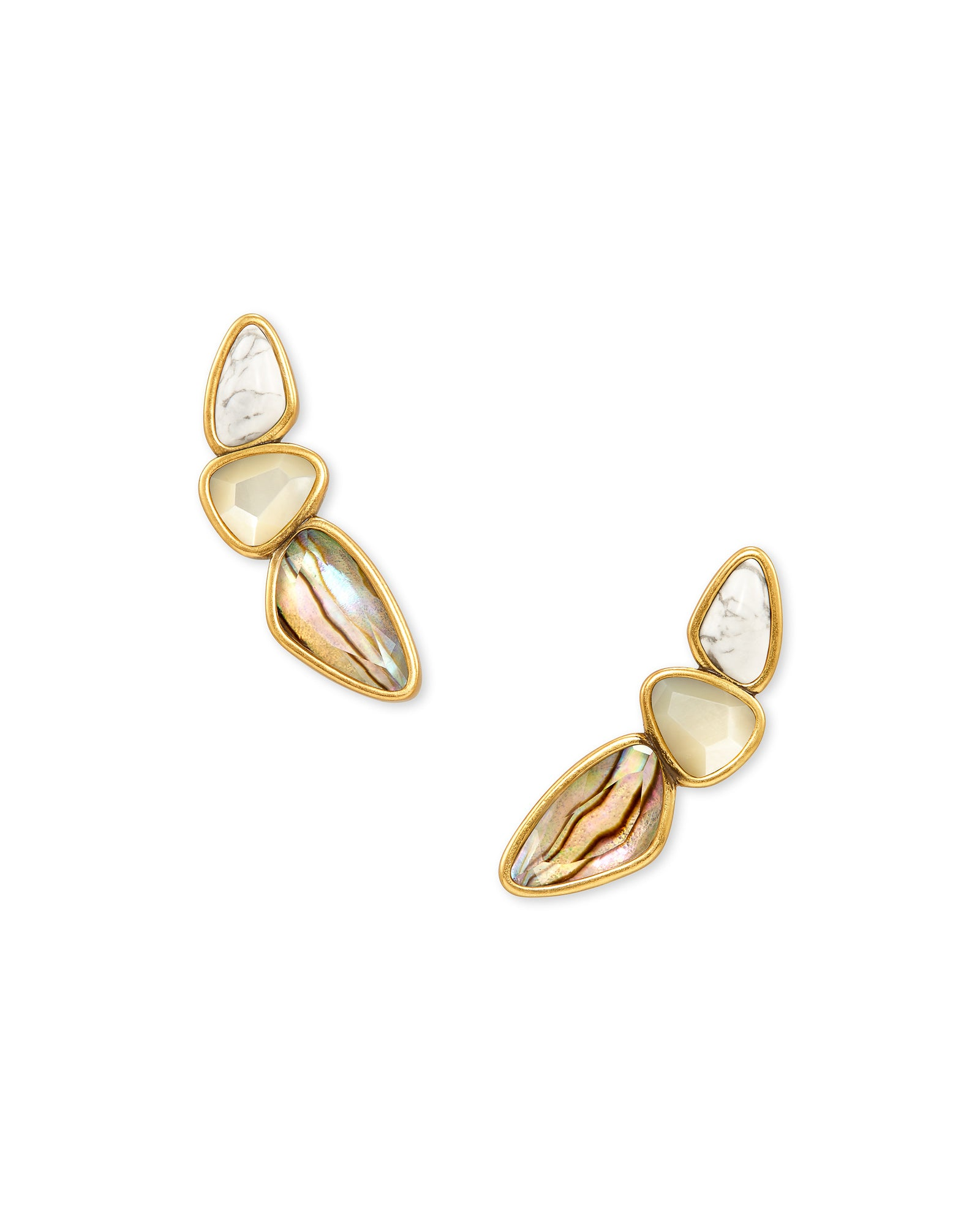 Ivy Vintage Gold Ear Climber in White Mix