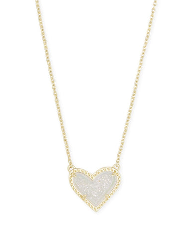 Ari Heart Necklace in Gold Iridescent Druzy
