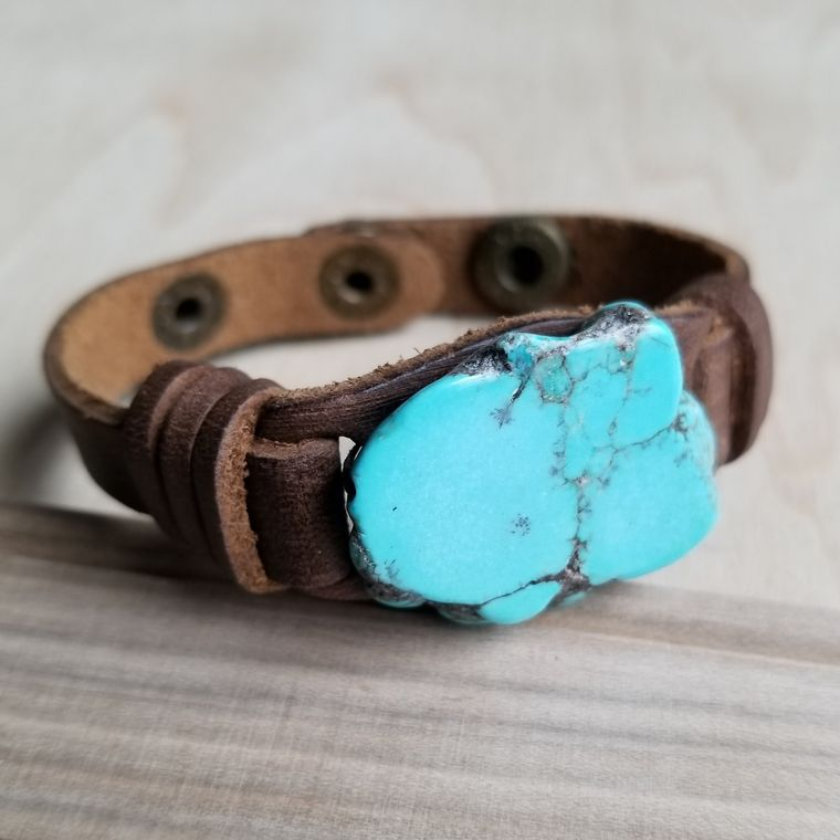 Blue Turquoise Slab on Narrow Leather Cuff 005W