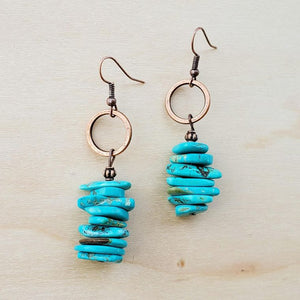 Blue Turquoise Stacked Gemstone Earrings 223i