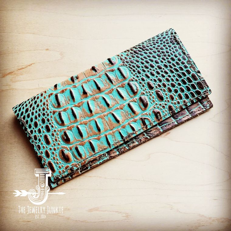 Embossed Leather Wallet-Brown and Turquoise Gator 300k