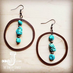 Copper Hoop Earrings w/ Blue Turquoise and Copper 201r