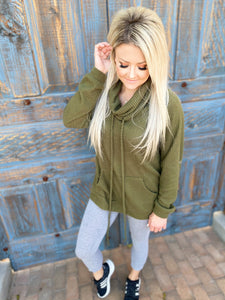 Owen Olive Mock Neck Pullover