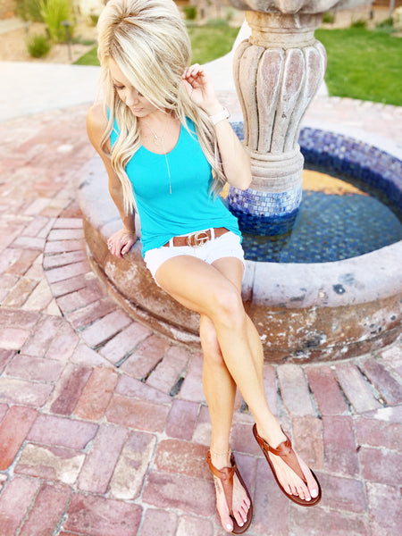Criss Cross Tank in Turquoise