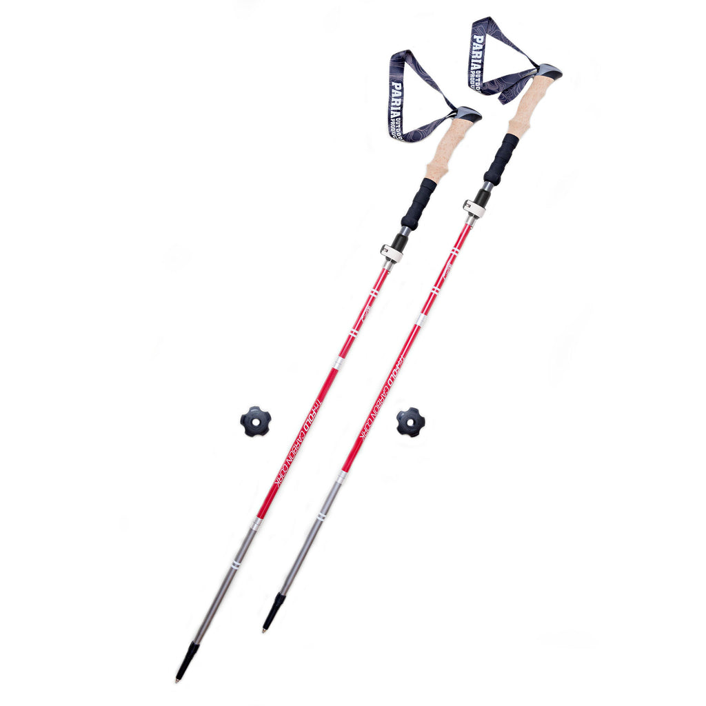 Tri-Fold Carbon Cork Trekking Poles by Paria Outdoor Products - Folding, Collapsible, Adjustable, and Ultralight - Perfect for Hiking, Walking, Backpacking and Snowshoeing