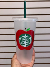 Load image into Gallery viewer, Teacher's Apple Starbucks Reusable Venti Cup with Lid & Straw