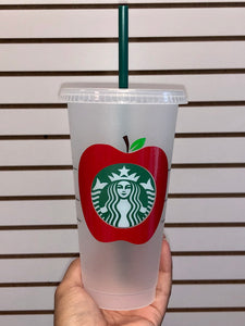 Teacher's Apple Starbucks Reusable Venti Cup with Lid & Straw