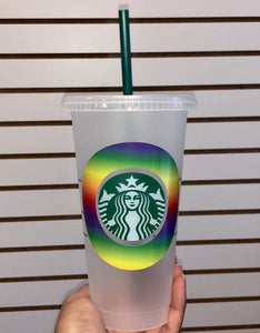 Rainbow Starbucks Reusable Venti Cup with Lid & Straw