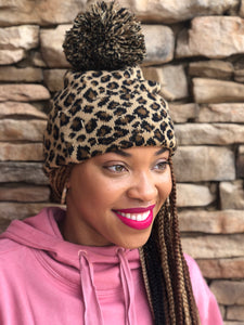 Leopard Beanie and Earrings Set