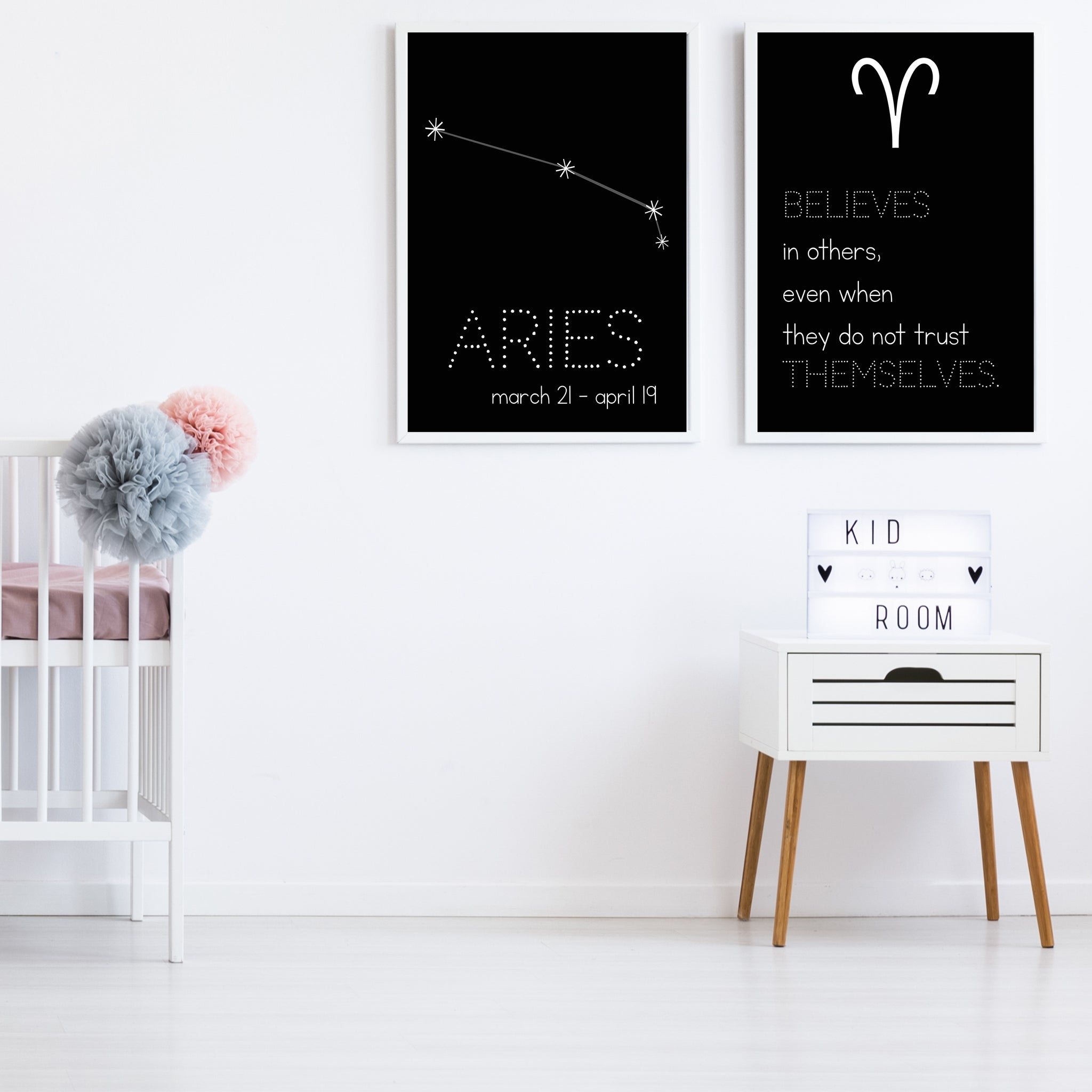 Aries Constellation Zodiac Nursery Poster