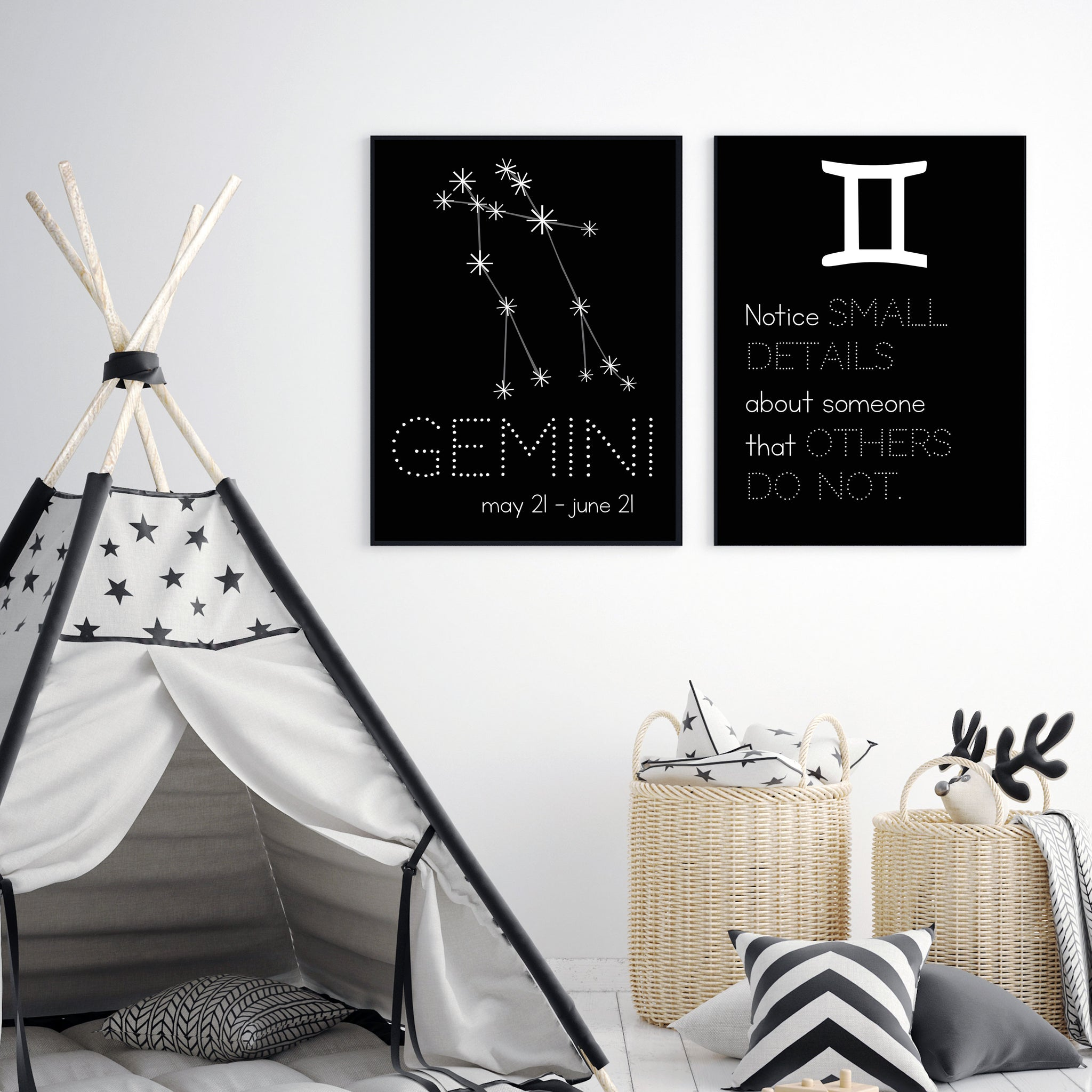 Gemini Constellation Zodiac Nursery Poster