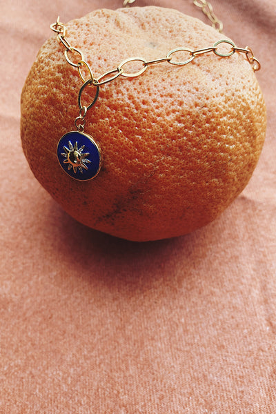 Yara Blue Enamel Sun Necklace