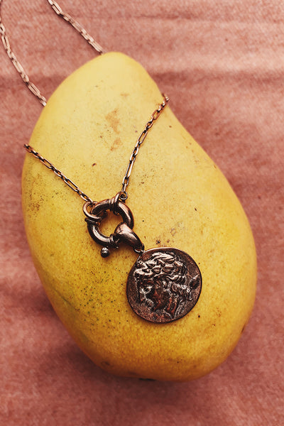 Eliza Antique Coin Rose Gold Necklace