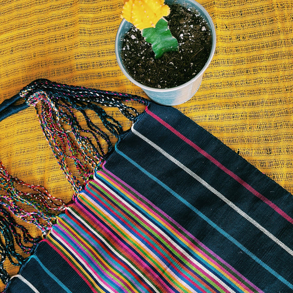 Blue with Pink Edges Mexican Market Bag