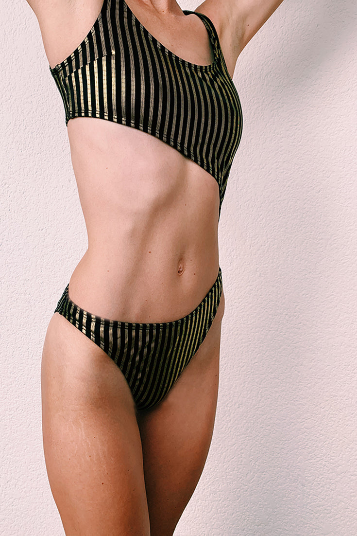 Dahlia Swimsuit Black and Gold Stripes