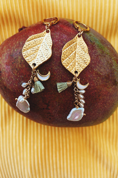 Olivia Golden Leaf Olive Earrings