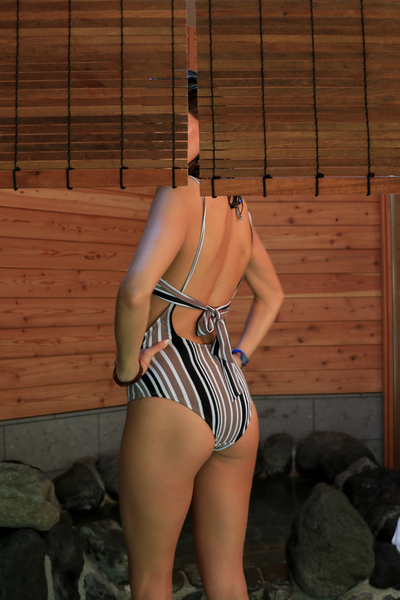 Alondra Swimsuit Beige Lines