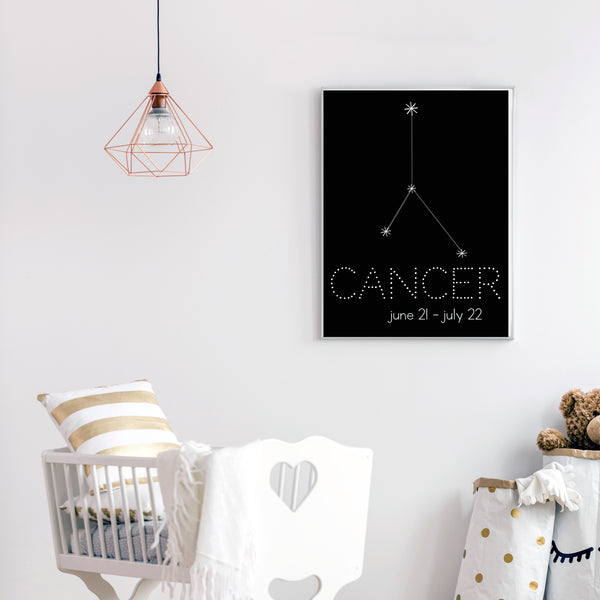 Cancer Constellation Zodiac Nursery Poster