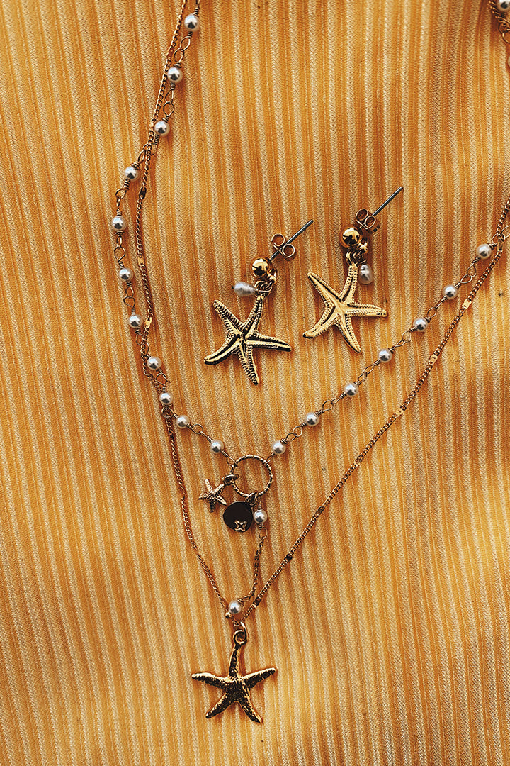 Emma Starfish Gold Pearl Necklace