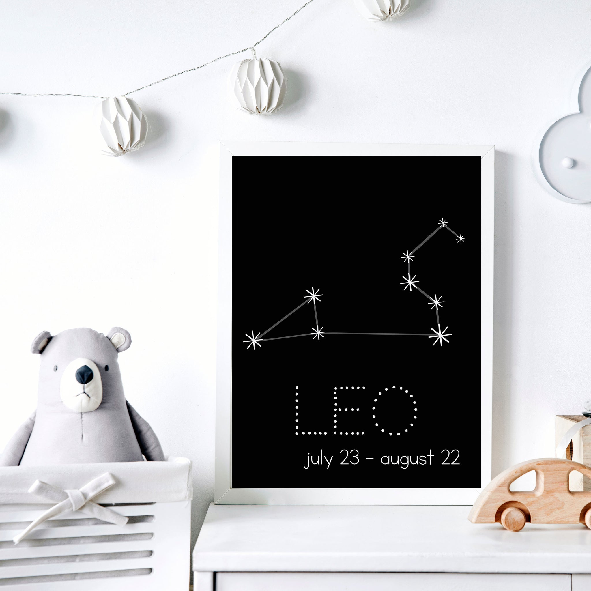 Leo Constellation Zodiac Nursery Poster