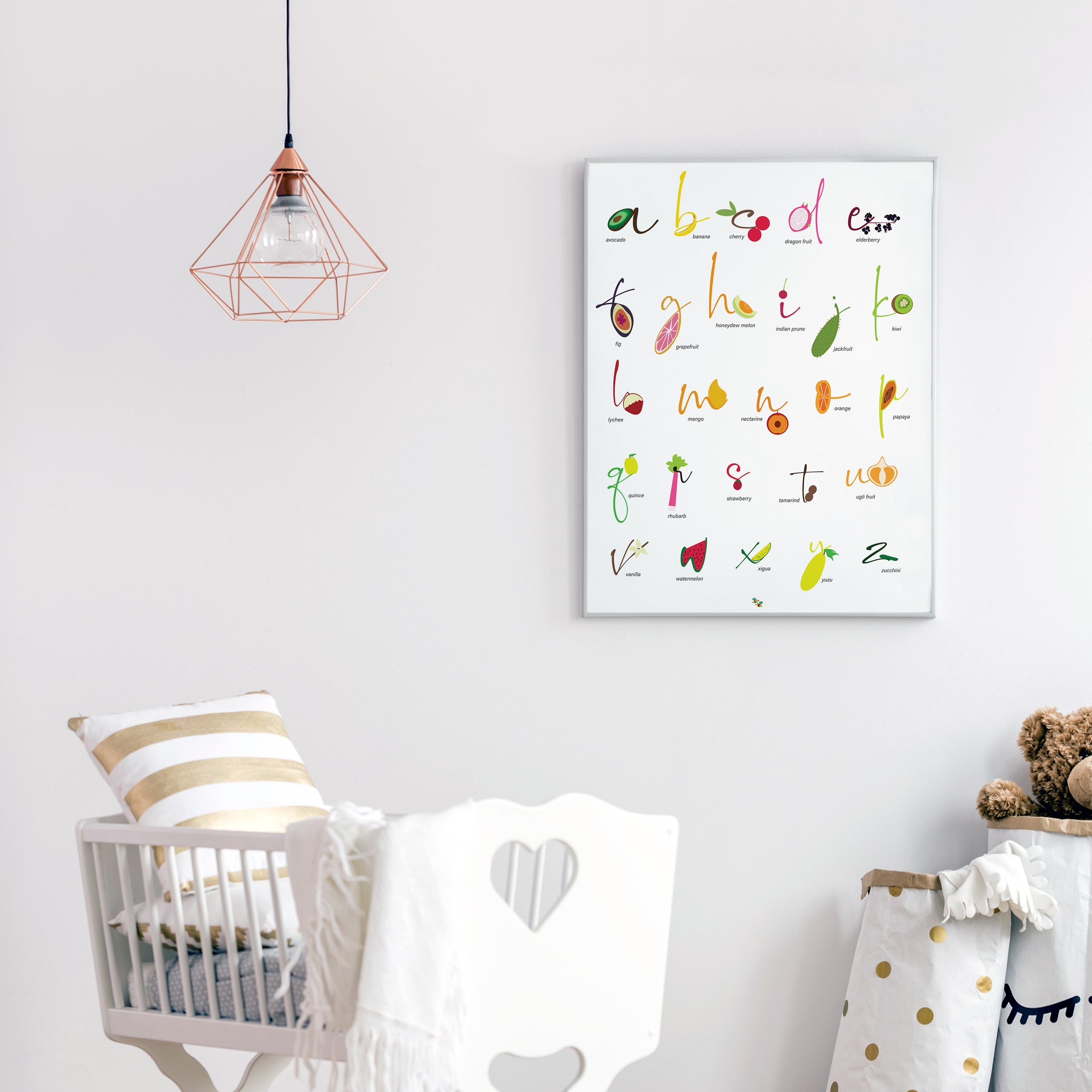 Foods: Fruits English Alphabet Nursery and Kitchen Art Print