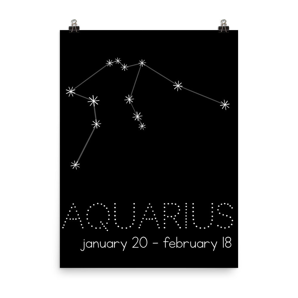 Aquarius Constellation Zodiac Nursery Poster