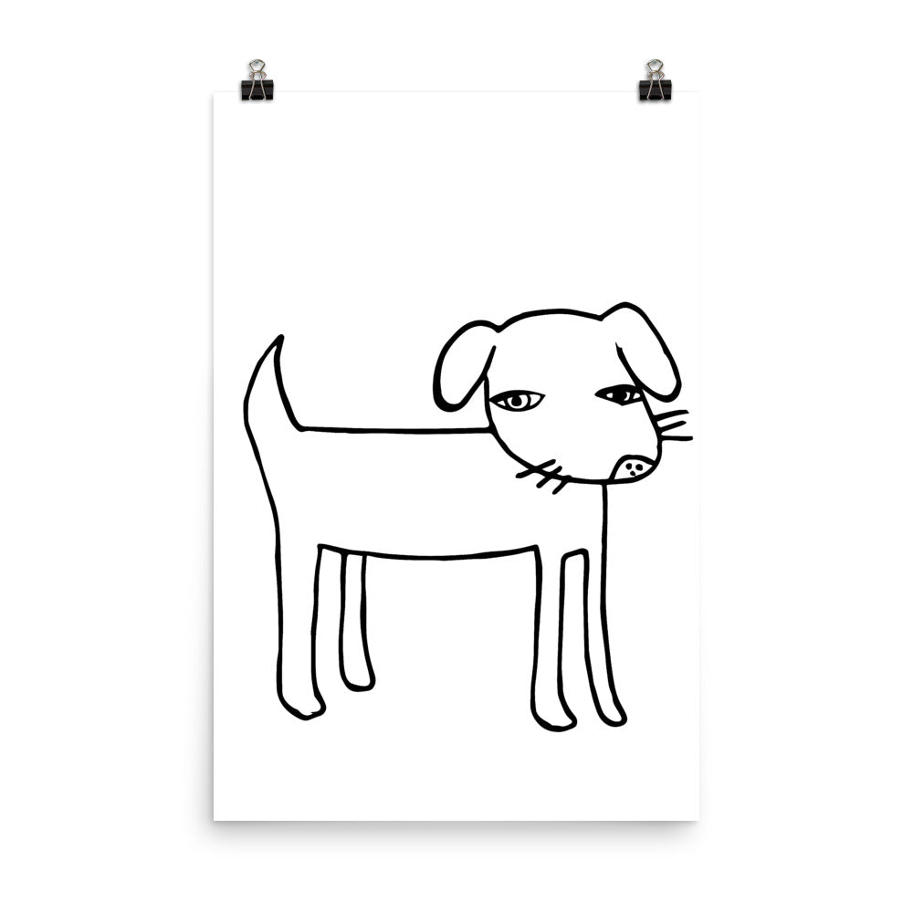 Black and White Dog Nursery Art Print
