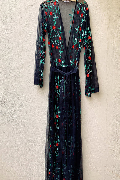 Embroidered Flowers Mesh Kimono Coverup