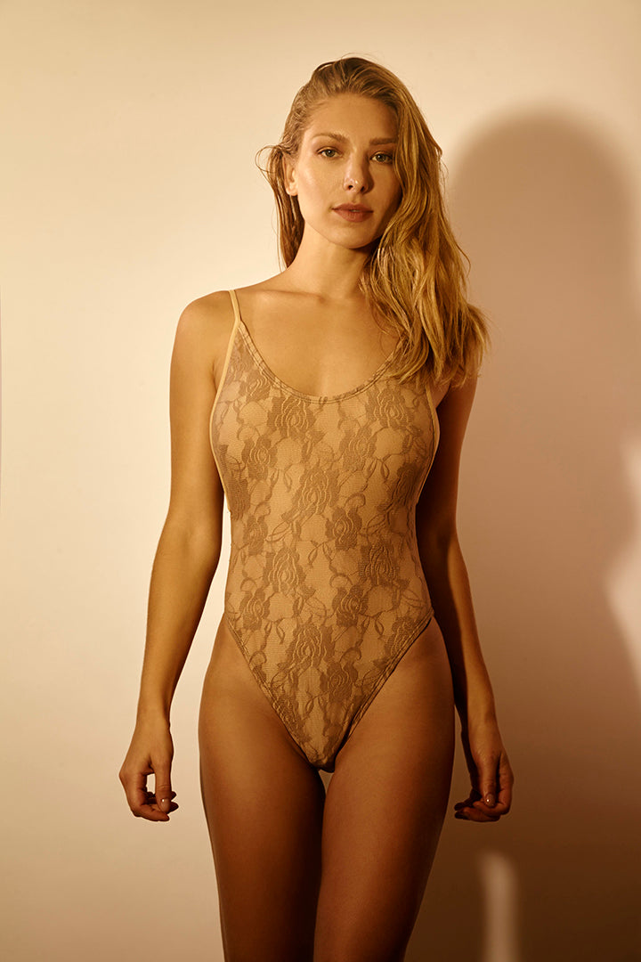 Loire Swimsuit Beige Sea Lace