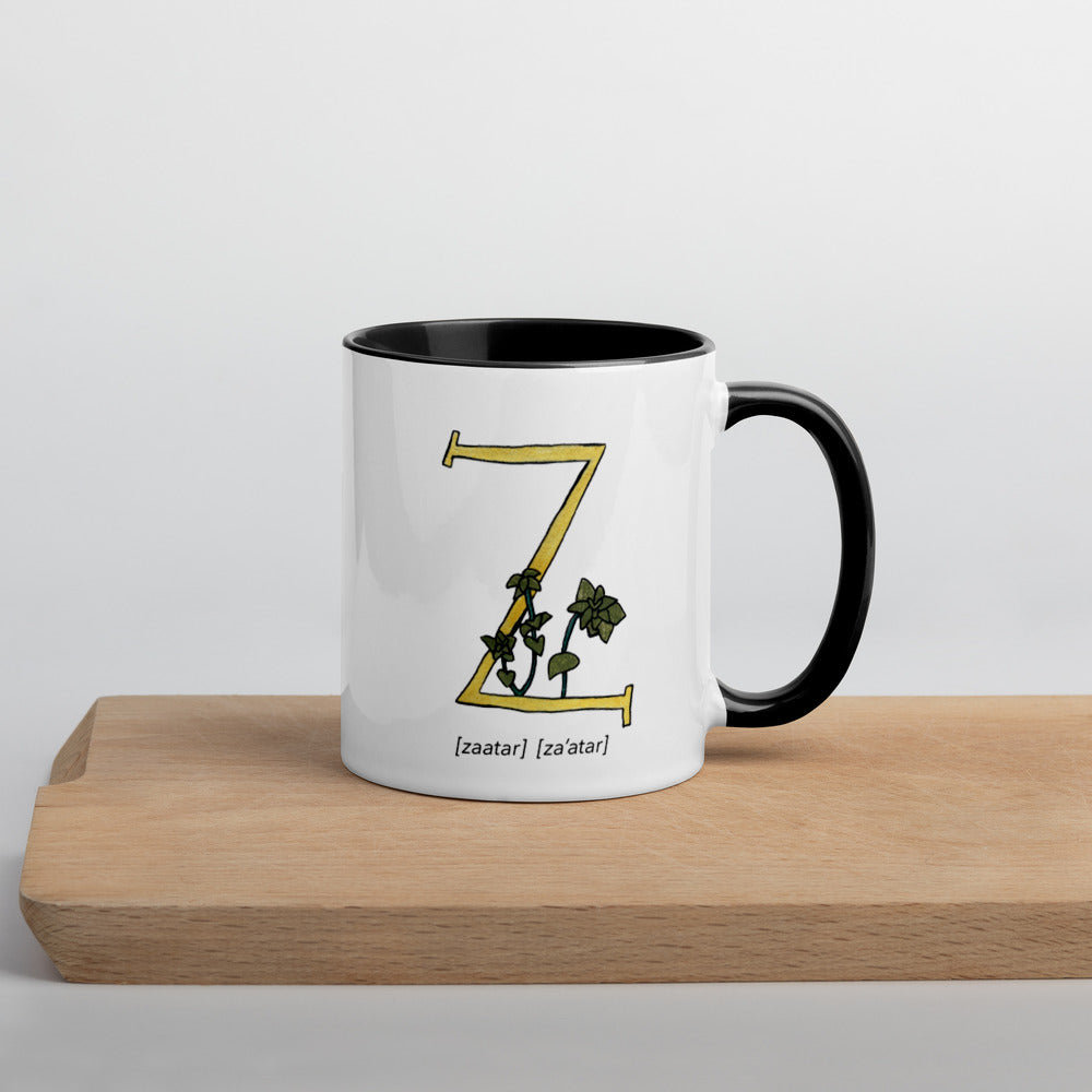 Monogram Letter Z Mug Colors: Bilingual English and Spanish Herb