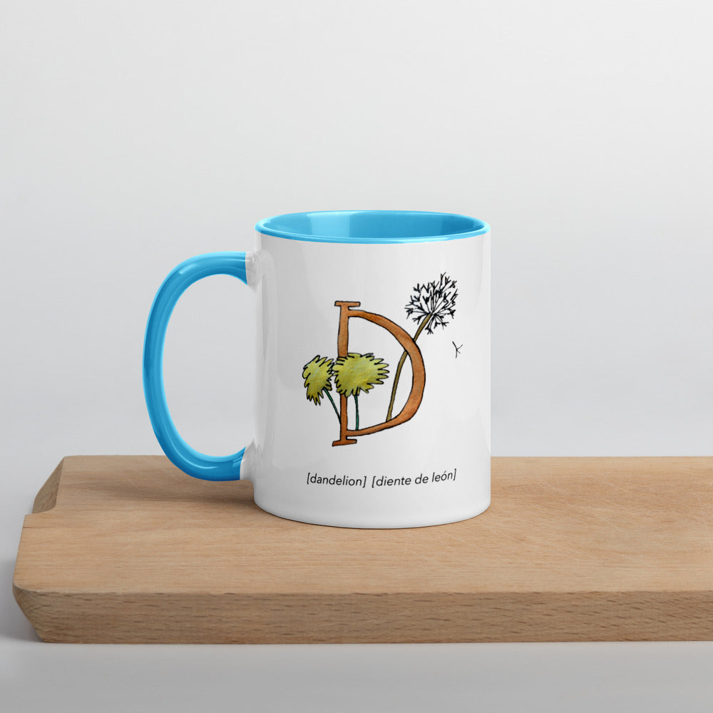Monogram Letter D Mug Colors: Bilingual English and Spanish Herb