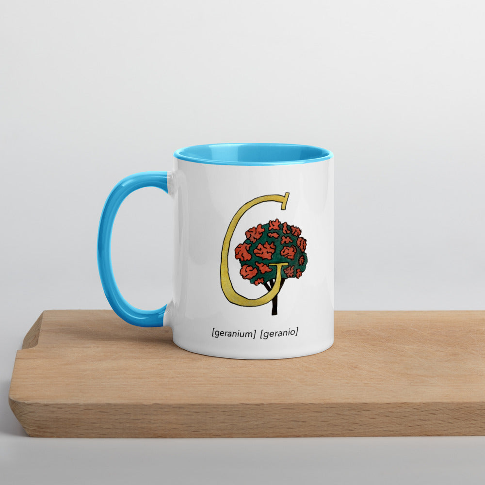 Monogram Letter G Mug Colors: Bilingual English and Spanish Herb