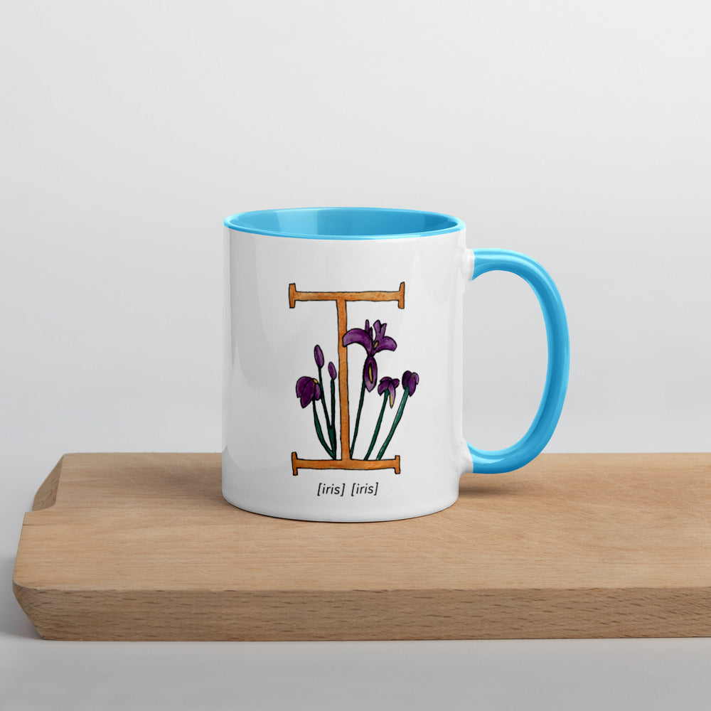 Monogram Letter I Mug Colors: Bilingual English and Spanish Herb
