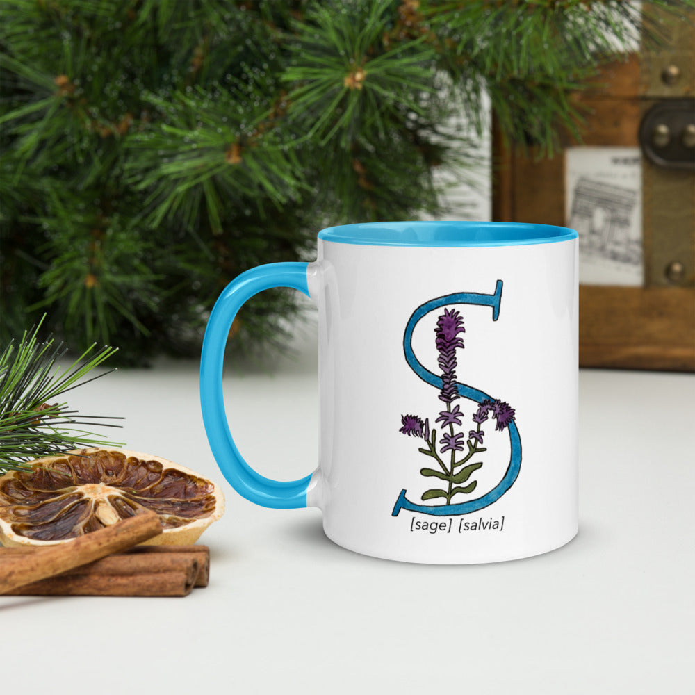 Monogram Letter S Mug Colors: Bilingual English and Spanish Herb