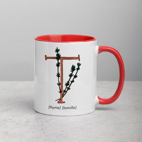 Monogram Letter T Mug Colors: Bilingual English and Spanish Herb