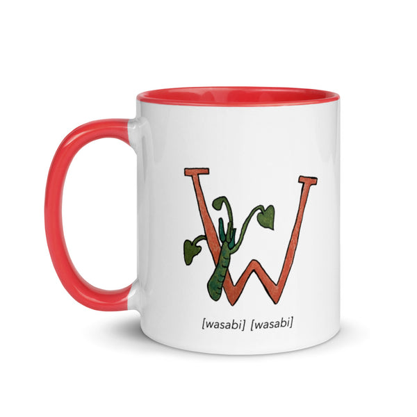 Monogram Letter W Mug Colors: Bilingual English and Spanish Herb