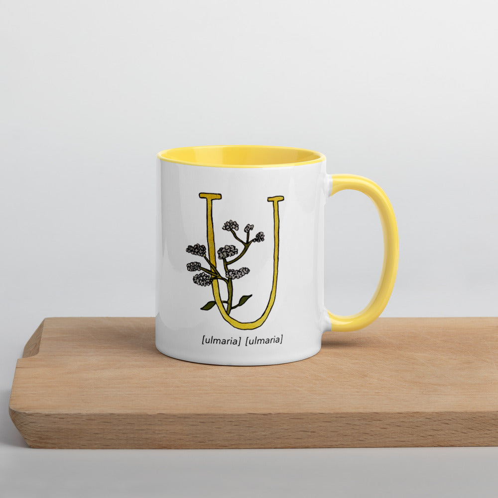 Monogram Letter U Mug Colors: Bilingual English and Spanish Herb