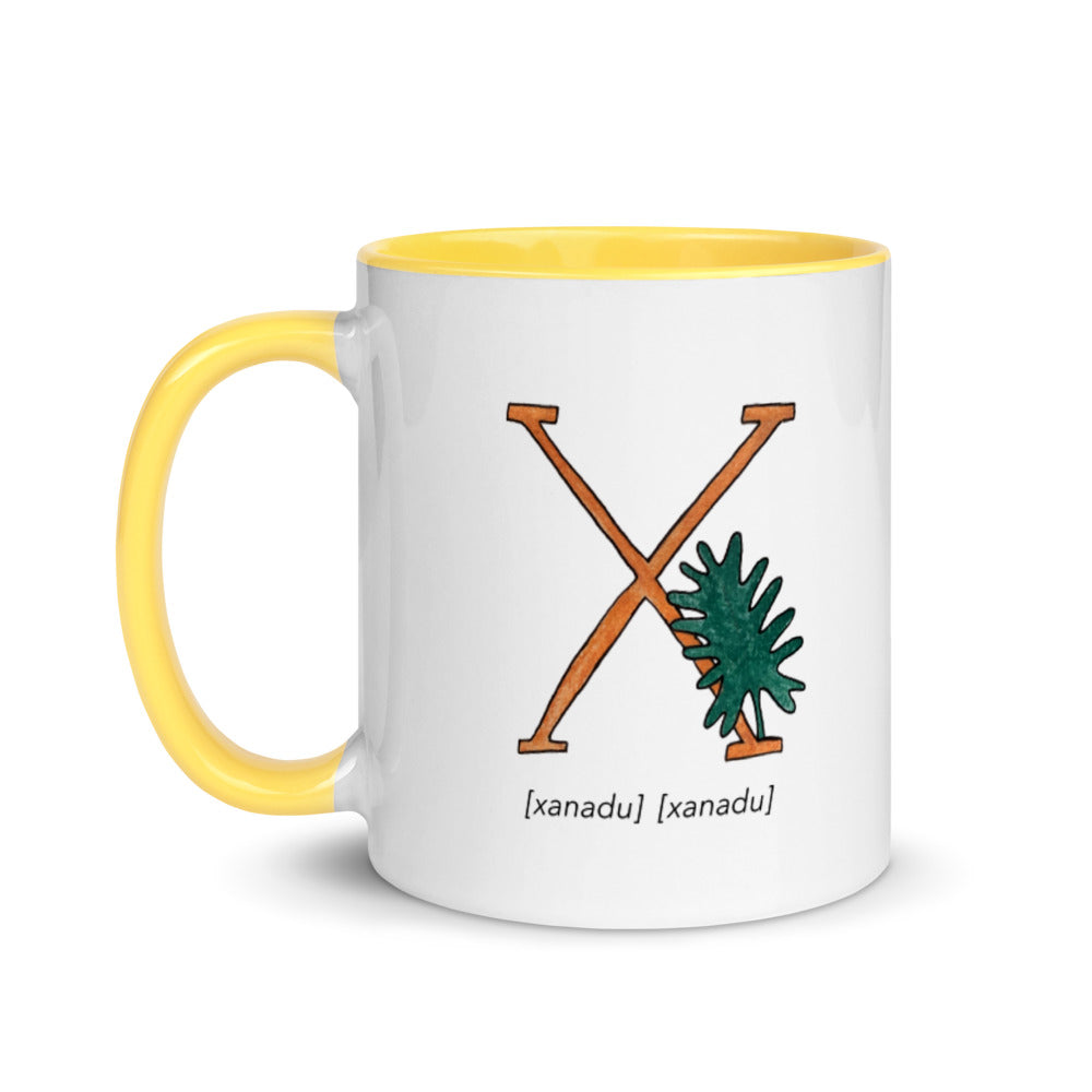 Monogram Letter X Mug Colors: Bilingual English and Spanish Herb