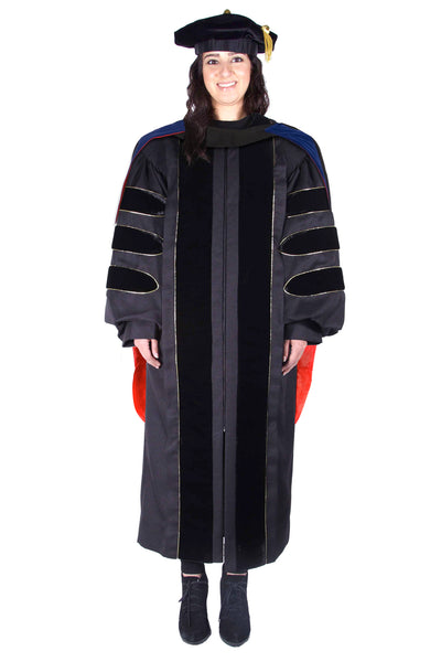 Premium Black Doctoral Regalia