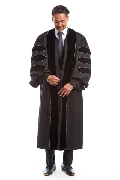Premium Black Doctoral Gown with Gold Piping for Graduation