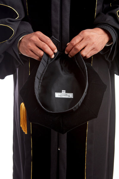 University of Missouri Doctoral Regalia Rental Set - Doctoral Gown, PhD Hood, and 8-sided Cap / Tam with Tassel