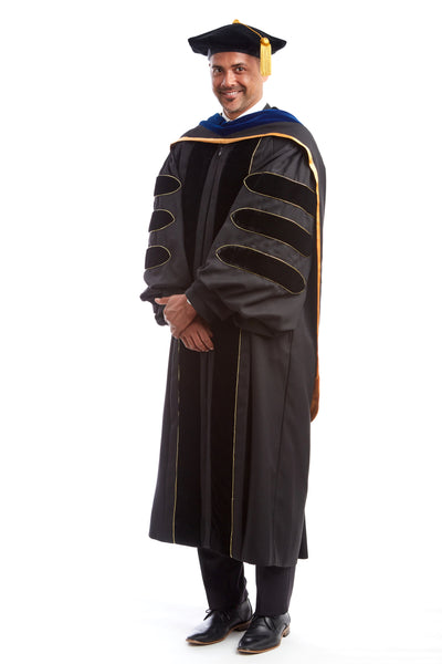 University of Missouri PhD Regalia Set. Doctoral Gown, PhD Hood, and Adjustable Cap / Tam