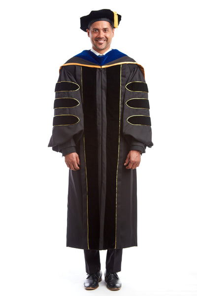 Premium Doctoral Gown, 8-sided Cap / Tam, & PhD Hood Regalia Set